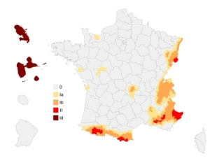 Ancienne carte du risque de seisme de la France
