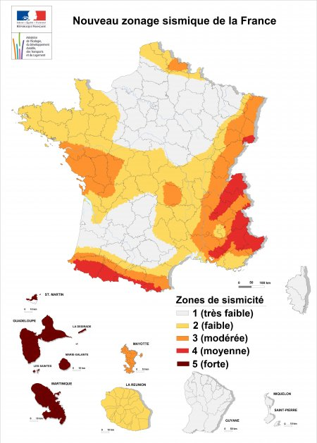 Carte du risque de seisme en France